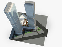 commercial modern double skyscrapers 3D