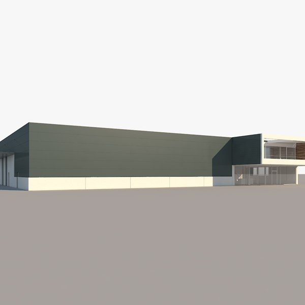 realistic industrial building 3D