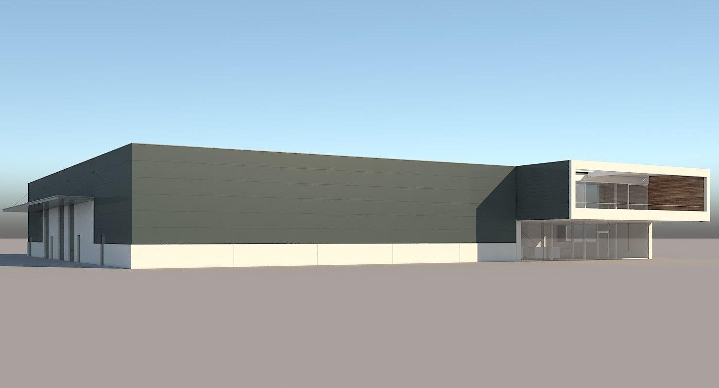 realistic industrial building 3D