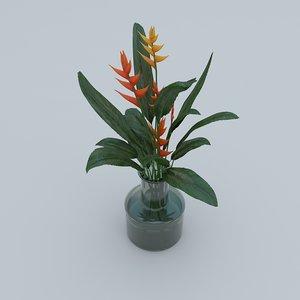 3D heliconia bouquet dianthus