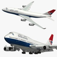 3D model boeing 747 british airways