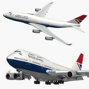 3D model boeing 747 british airways