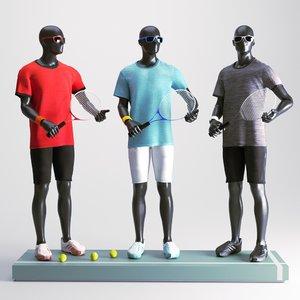 tennis man set 3D model