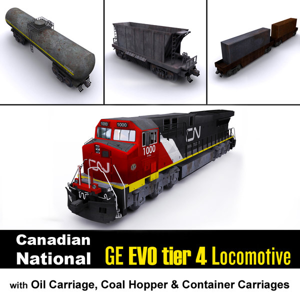 ge locomotive carriage cargo 3D model