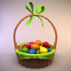 3d easter basket eggs model