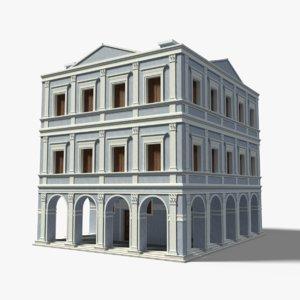 3D italian palace blue