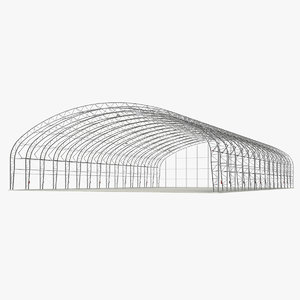 steel hangar building construction 3D model