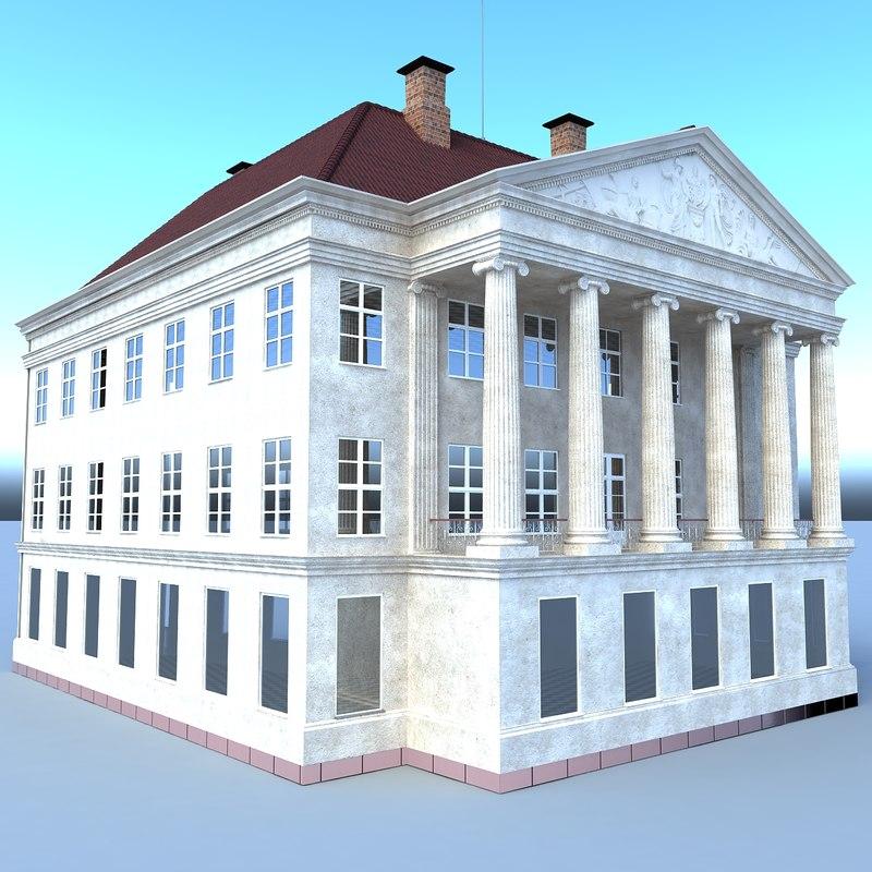ancient bank building 3D model