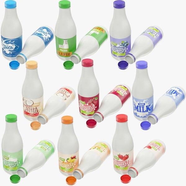 3D milk products bottles yogurt