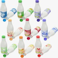 3D milk products bottles yogurt
