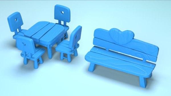 cartoon table chair street bench model