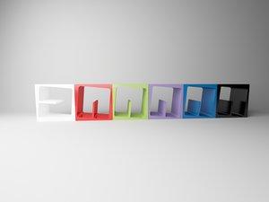 3D colorful bookcase model