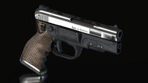 3D model futuristic combat pistol
