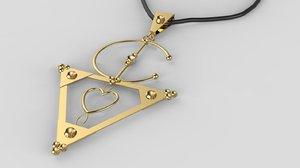 moroccan amazigh necklace print 3D model