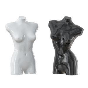 black white female mannequin 3D model