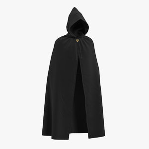 black cloak cape hood 3D