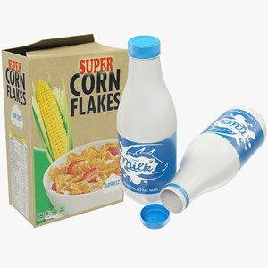 3D milk bottle corn flakes