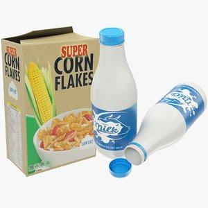 3D milk bottle corn flakes