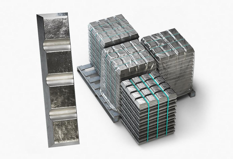 3D model ingots aluminium zinc nickel