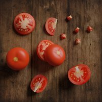 Low Poly Tomato. Photorealistic 3d model scene.