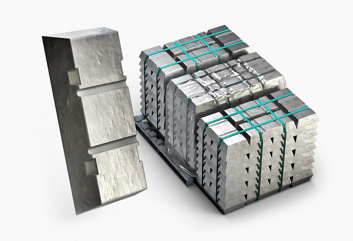 3D ingots aluminium zinc nickel model