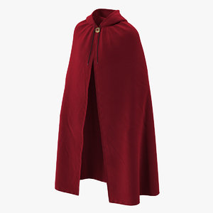 unisex red cloak hood 3D model