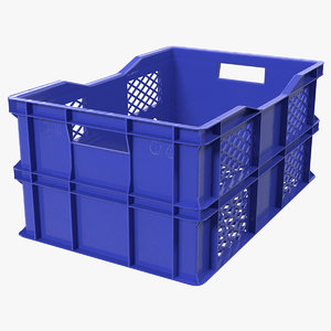 3D vegetable square plastic crate model