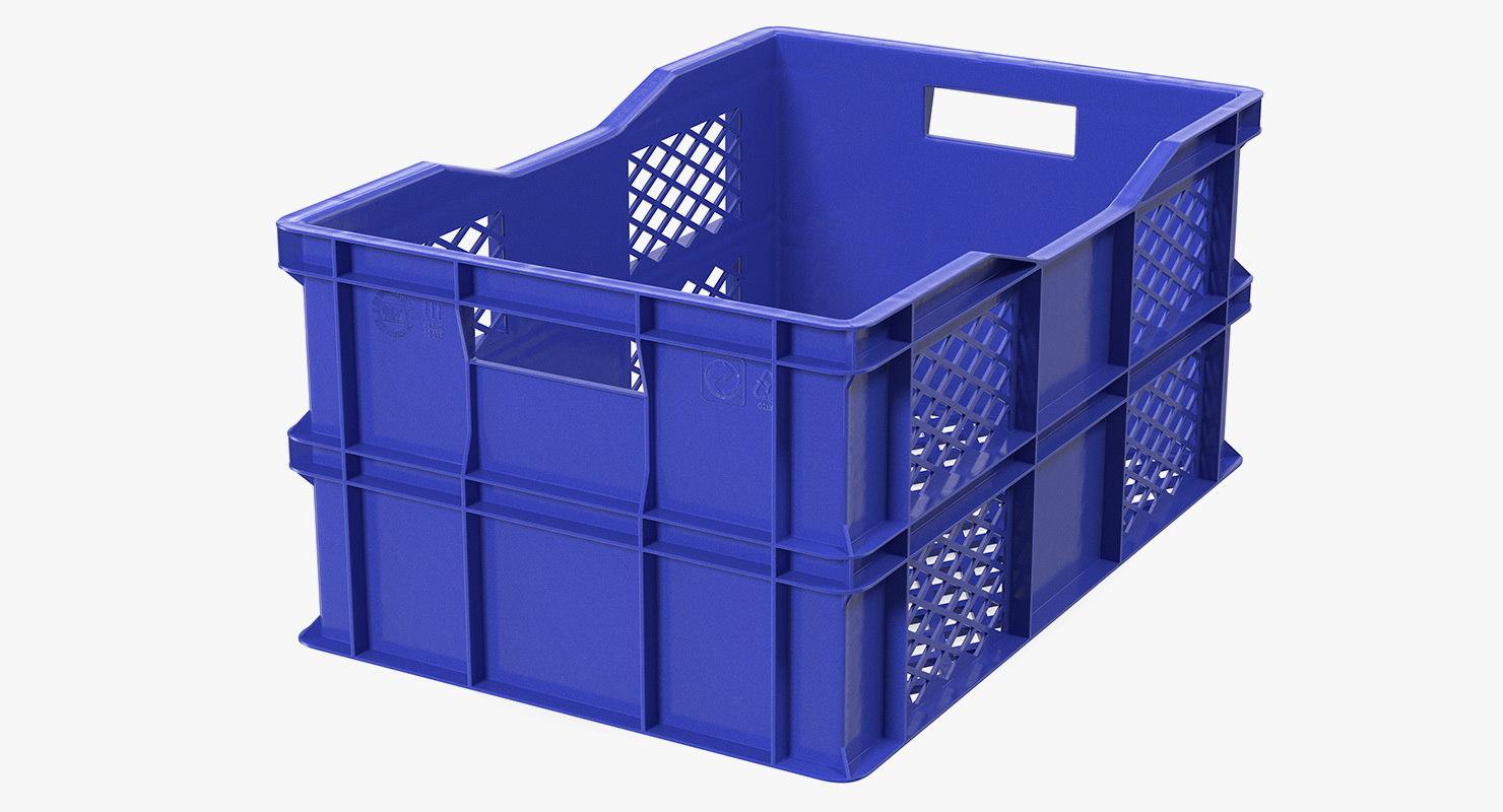 3D vegetable square plastic crate model