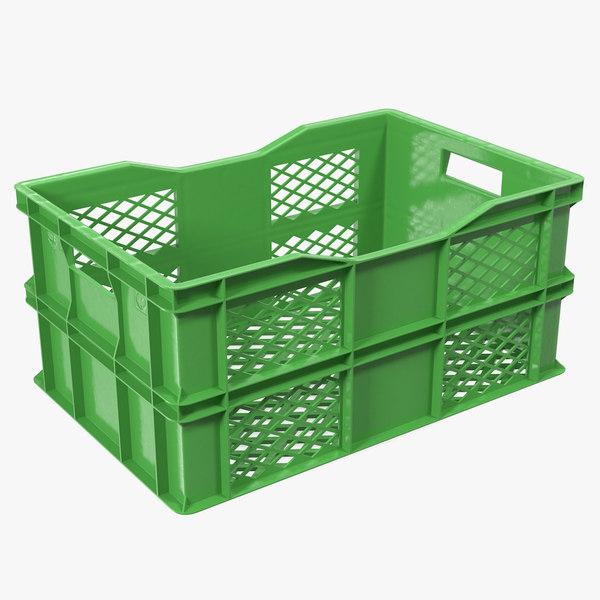 3D large plastic crate model