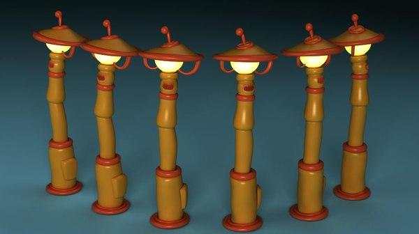 cartoon street lights 3D
