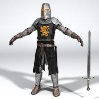 3D model medieval heraldic knight
