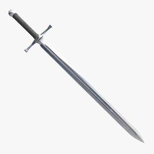 3D old medieval longsword