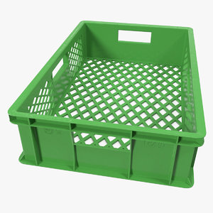 3D square solid plastic crate model