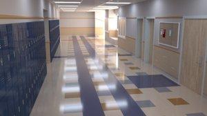 school hallway 3D