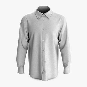 3D male shirt classic placket model