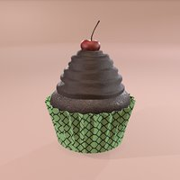 3D chocolate lava cherry cupcake model