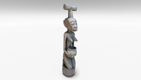 tiki wood statue 3D model