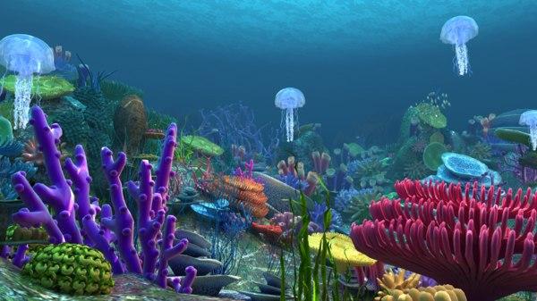 underwater worldundersea scenejellyfishfish 3D model