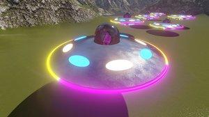 3D model spaceship flying disk