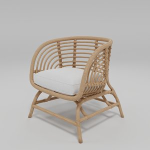 3D ikea buskbu rattan chair