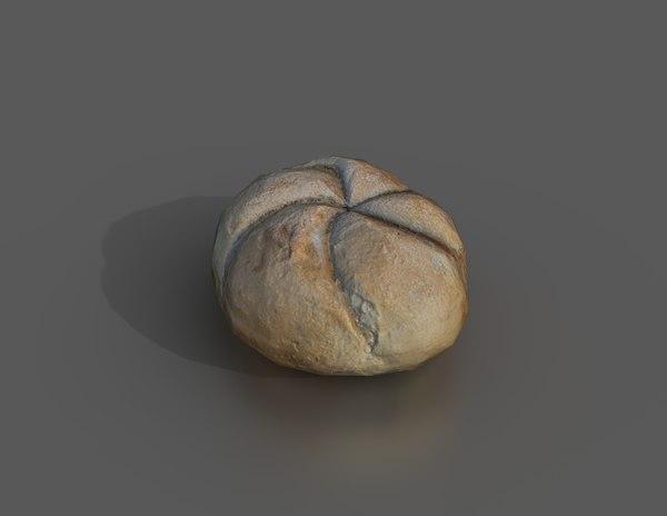 kaiser bread roll 3D model