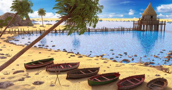 beach 3D model
