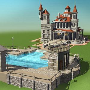 villa buildings houses 3d model