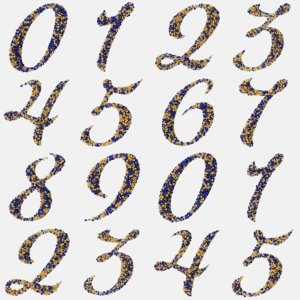 3D calligraphic digits numbers 0-9 model