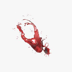 red wine splash 3D