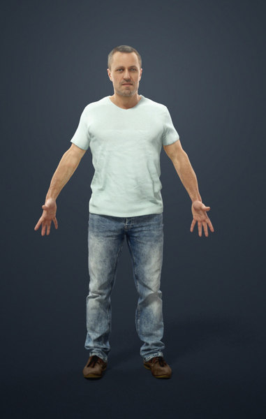 rigged characters include biped 3D model