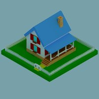 3D isometric house model