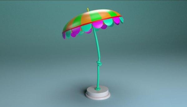 3D cartoon beach umbrella