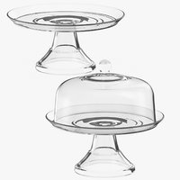 3D glass cake pie stands model
