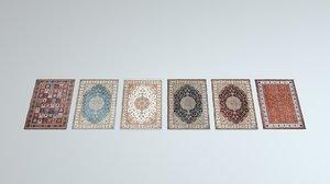 6 scottish rugs 3D model